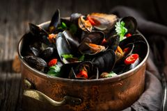 Enjoy your mussels with coriander and chili peppers stock images