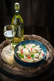 Enjoy your spaghetti Vongole made of clams, peppers and parsley Royalty Free Stock Photos