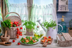 Enjoy your spring kitchen. On old wooden table Royalty Free Stock Photography