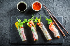 Enjoy your spring rolls with seafood Stock Photos