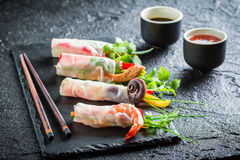 Enjoy your spring rolls with seafood and vegetables Royalty Free Stock Photography