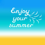 Enjoy your summer hand lettering. Calligraphy grunge style quote Stock Photo