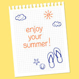 Enjoy your summer!. Note 'Enjoy your summer' with flip-flops and seashells in hand drawn style Stock Photography