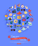 Enjoy your summer vacation every day. Summer typographical background with place for text and flat summer icons. Vector illustration Royalty Free Stock Photos