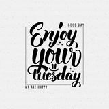 Enjoy your tuesday brush lettering quote. It can be used as a poster, postcard, print Stock Photography