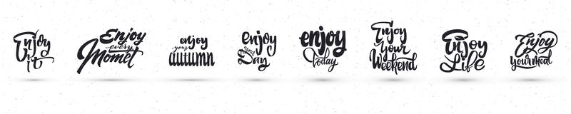 Enjoy your weekend, meal, yourself, day, today, the little things, every moment, it, autumn. Trace written by pen brush Stock Photography