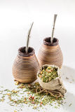 Enjoy your yerba mate with calabash and bombilla Royalty Free Stock Image