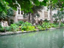 Enjoyable downtown of San Antonio, Texas. The riverwalk, full of plants and flowers , is  going through all the town and is always full of people Stock Photography