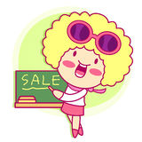 Enjoyable shopping girl. Style Girl Character Design Series. Stock Images