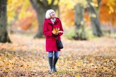 Enjoying An Autumn Walk stock photography
