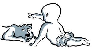Enjoying baby and dog stock illustration