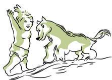 Enjoying baby and dog royalty free illustration