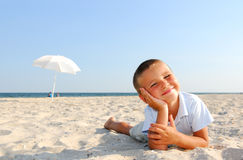 Enjoying on beach Stock Image