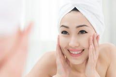 Enjoying beautiful clear skin royalty free stock image