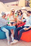 Enjoying beer with friends. Royalty Free Stock Photo