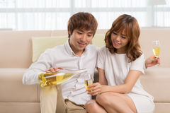 Enjoying champagne Royalty Free Stock Images