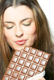 Enjoying the chocolate Stock Photo