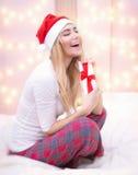 Enjoying Christmas present Royalty Free Stock Image