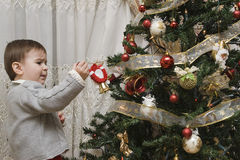 Enjoying with the Christmas tree. A little child impressed by his first time wdecorating the Chirstmas tree Stock Images
