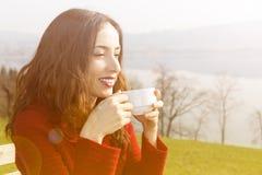 Enjoying coffee outdoors Royalty Free Stock Photo