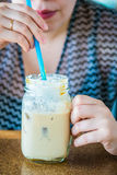Enjoying cold coffee Royalty Free Stock Photos