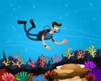 Enjoying coral reef Royalty Free Stock Images
