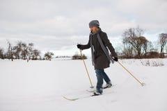 Enjoying cross-country skiing Stock Image