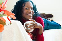 Enjoying a cup of coffee Stock Image