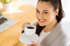 Enjoying cup of coffee Stock Photos