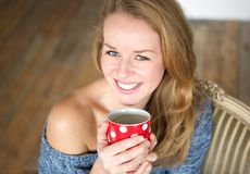 Enjoying a cup of coffee Royalty Free Stock Photos