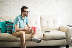 Enjoying a 3D movie at home stock images