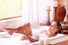 Enjoying day spa Stock Images