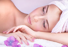 Enjoying day spa Royalty Free Stock Images