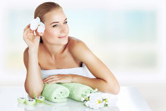 Enjoying day spa. Portrait of a beautiful young woman enjoying day spa, spending time at luxury beauty clinic, skincare and aromatherapy, alternative medicine stock images