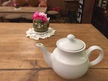 Classy girly tea decoration. Enjoying a delicious cup of delicious tea in this classy and girly beautiful place Royalty Free Stock Photos
