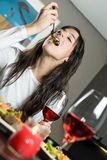 Enjoying dinner anniversary Royalty Free Stock Photography