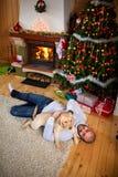 Enjoying with dog on Christmas eve Stock Image