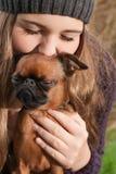 Enjoying with the dog Stock Photos