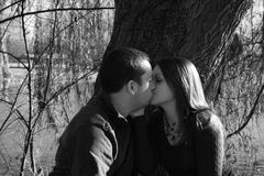 Enjoying each other's company and love. Young couple sitting under a tree Stock Photo
