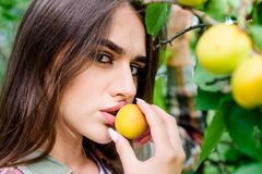 Enjoying Eating Apricot. Natural Cosmetics. Perfect Skin. Fashion Makeup Beauty. Juicy Fruit. Sexy Girl. Woman Near Stock Images