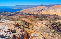 Enjoying Eilat mountains. Zefahot Mount is one of the best places to overlook Israel, Egypt, Jordan, Saudi Arabia from one peak, Eilat Stock Photography