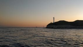 Sunset over the sea. Enjoying the evening sea on the boat and sunset in the Bosporus Strait stock images
