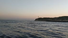 Sunset over the sea. Enjoying the evening sea on the boat and sunset in the Bosporus Strait stock photography
