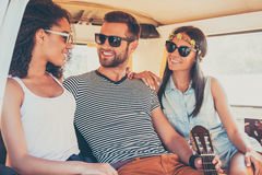 Enjoying every moment of their roadtrip. Royalty Free Stock Photography