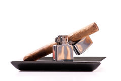 Enjoying a Fancy Cigar Stock Images
