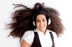enjoying female happy music track Στοκ Φωτογραφία