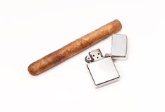 Enjoying a Fine Cigar. Cigar with Lighter on White for Tobacco presentations and health/medical purposes Royalty Free Stock Photography