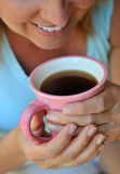 Enjoying the first cup of coffee Stock Photography