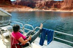 Enjoying Fishing Lake Powell Stock Photography