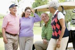 enjoying four friends game golf portrait Στοκ φωτογραφία με δικαίωμα ελεύθερης χρήσης